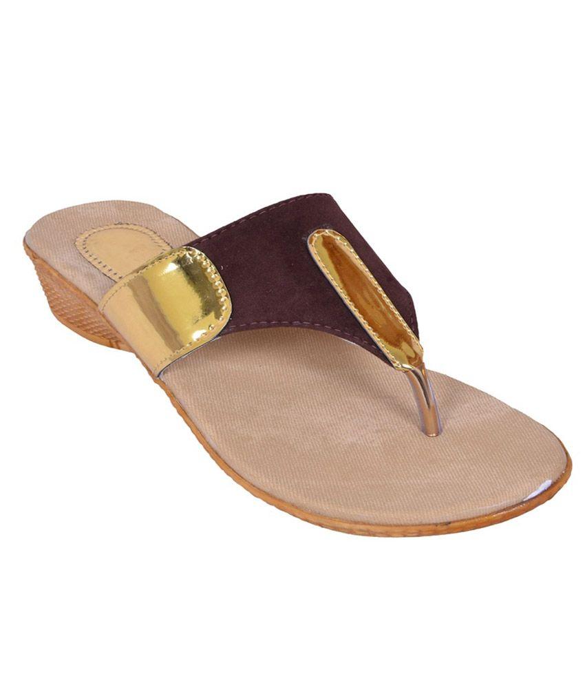 Ladies Comfort Brown Heeled Slip-Ons