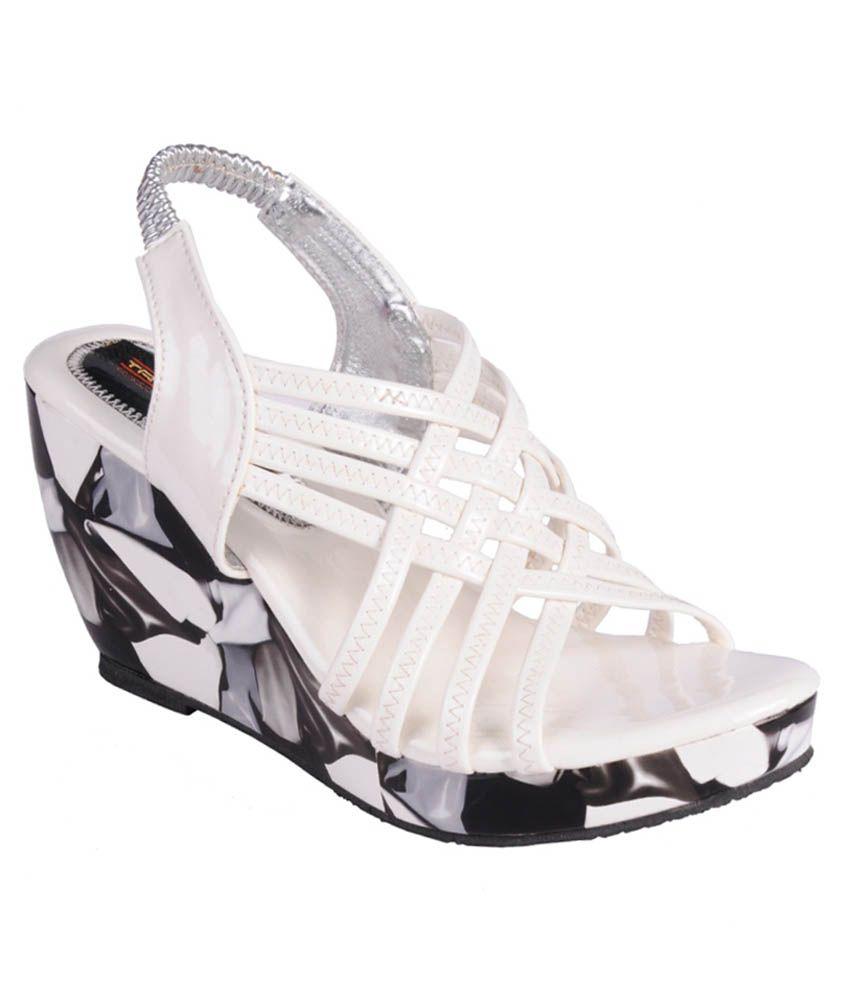Trilokani White Wedge Heels