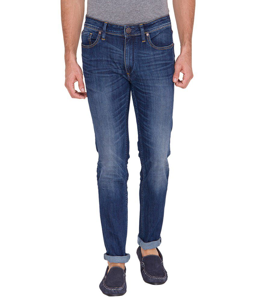 Slub Blue Slim Fit Jeans