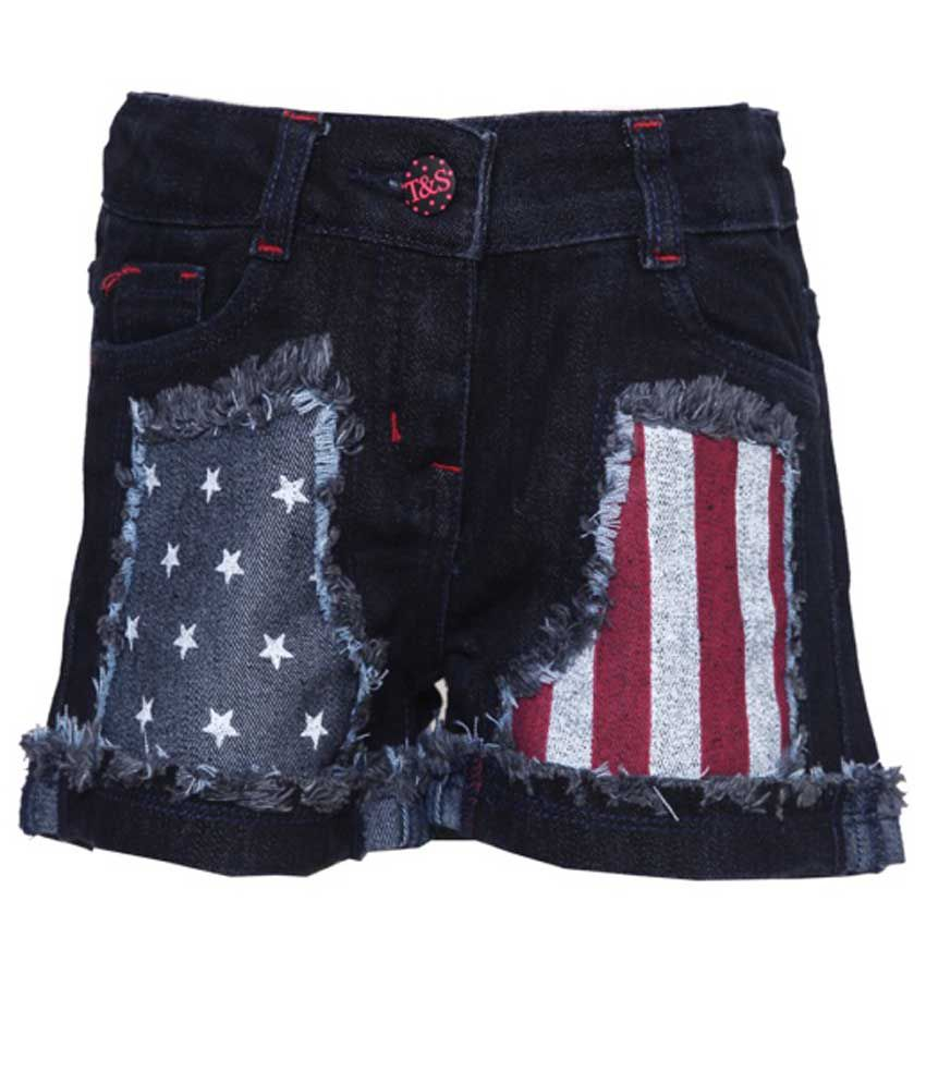 Tales And Stories Black Denim Shorts