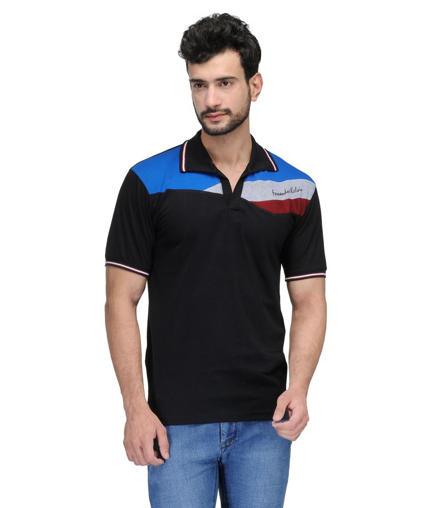 Ausy Black Cotton Blend Half Sleeves T Shirt