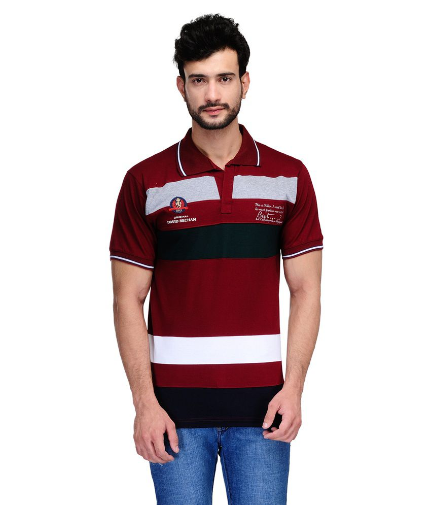 Ausy Maroon Cotton Blend Half Sleeves T Shirt