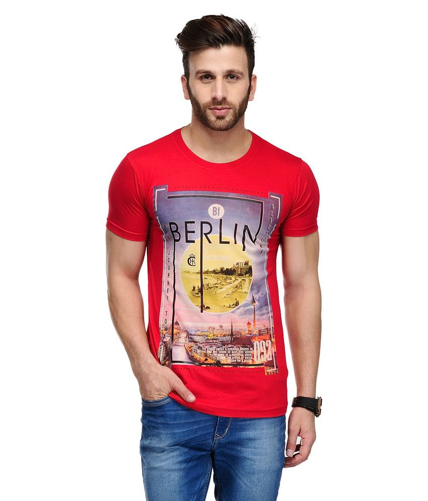 Ausy Red Cotton Blend Half Sleeves T Shirt
