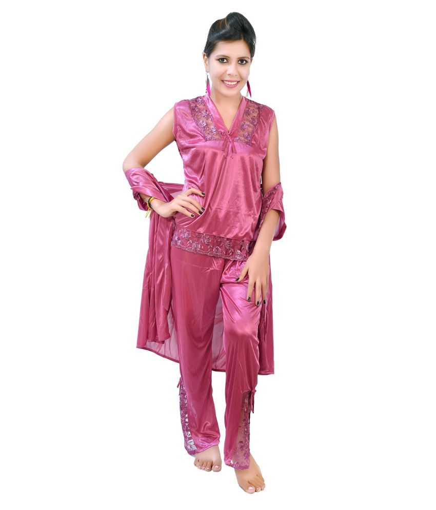 d1aaa9a64e33f ... Fashion Zilla Onion Purple Satin Shoulderless Top Payjama With Short  Gown Set ...