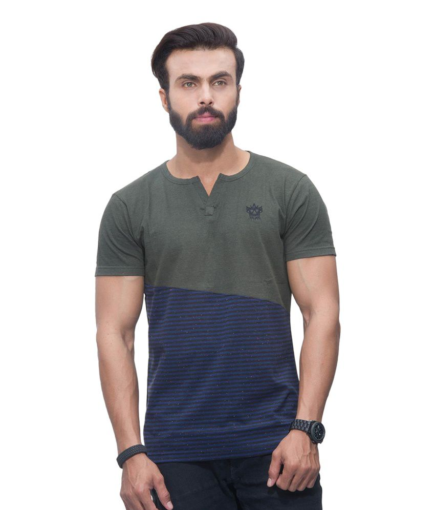 Avoir Envie Green & Blue Cotton Blend Henley Solid T-shirt