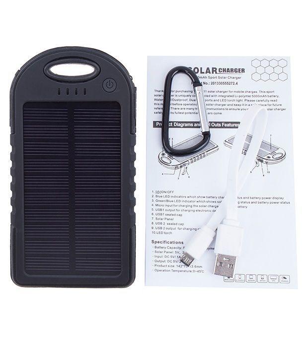 Chkokko Ipx6 12000 Mah Solar Charger Power Bank Black Power
