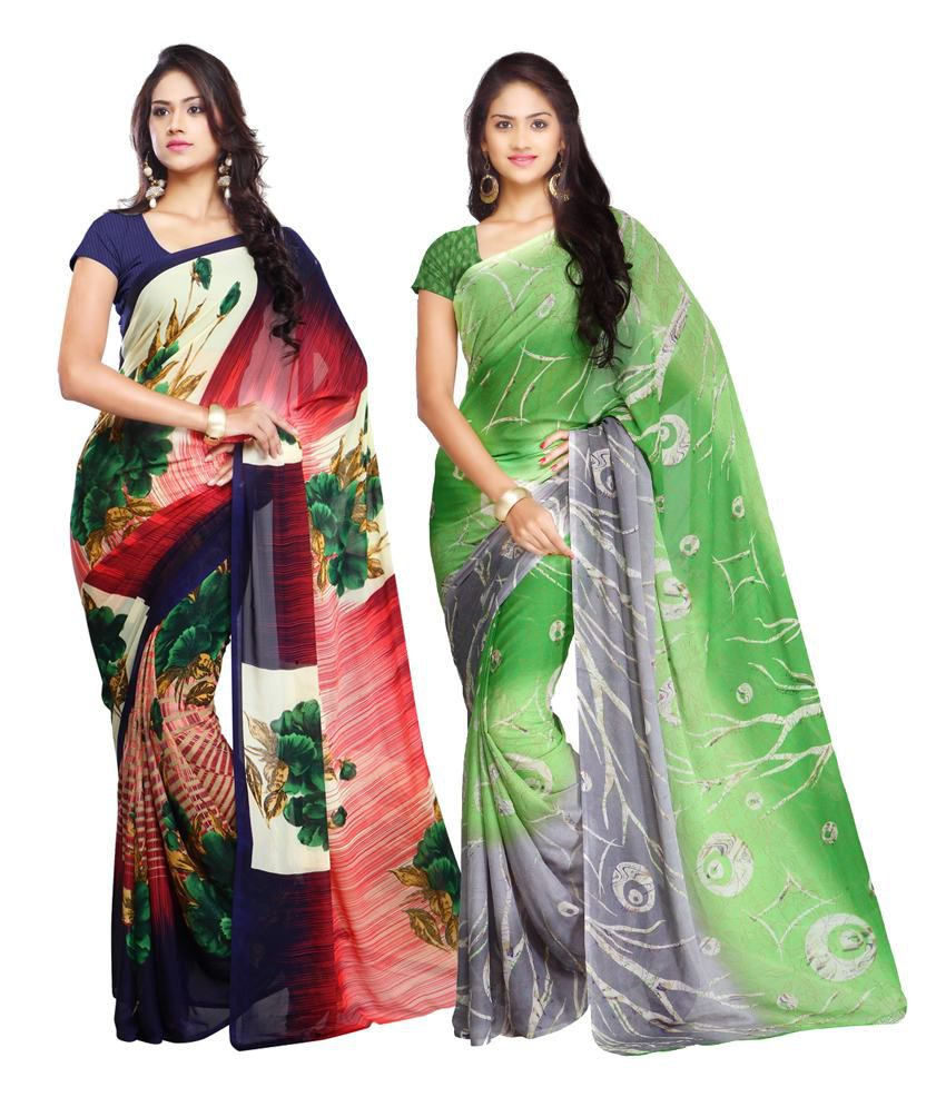 Looklady Multicolor Semi Chiffon Pack Of 2