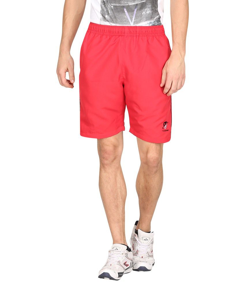 Vwear Red & Black Polyester Solid Shorts
