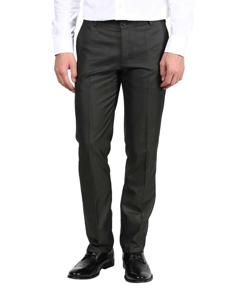 Youth & Flame Black Cotton Regular Fit Formal Trouser