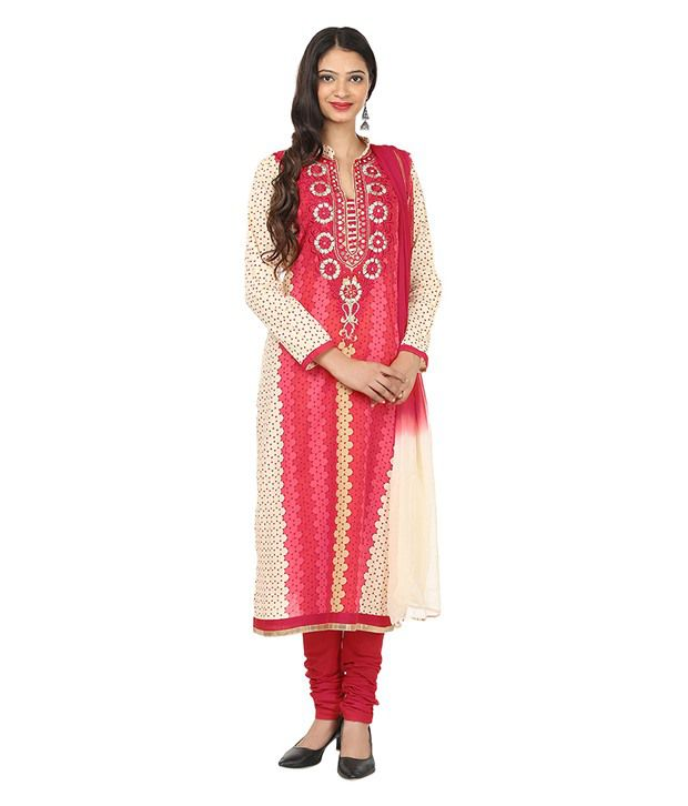 Akshiti Red Cotton Stitched Suit