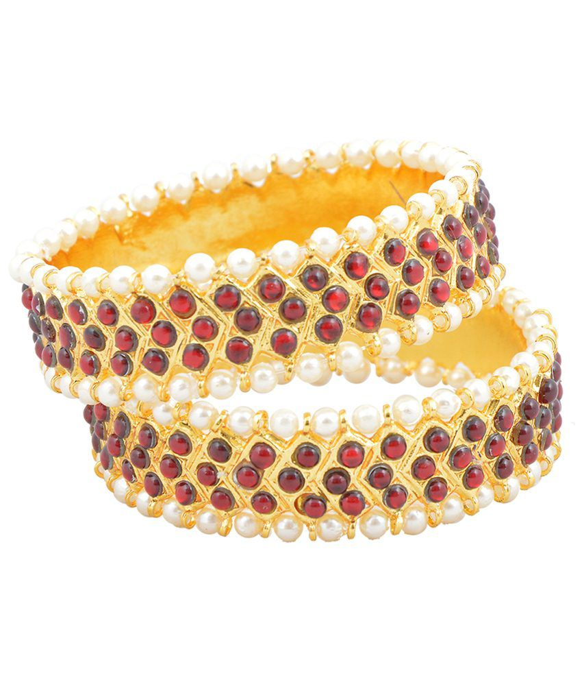 Khushi Purchase Set of 2 Golden & Red Beaded Kadas