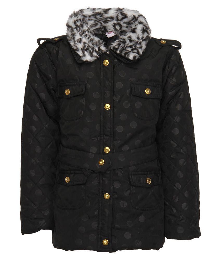 Little Kangaroos Black Printed Quilted Jacket