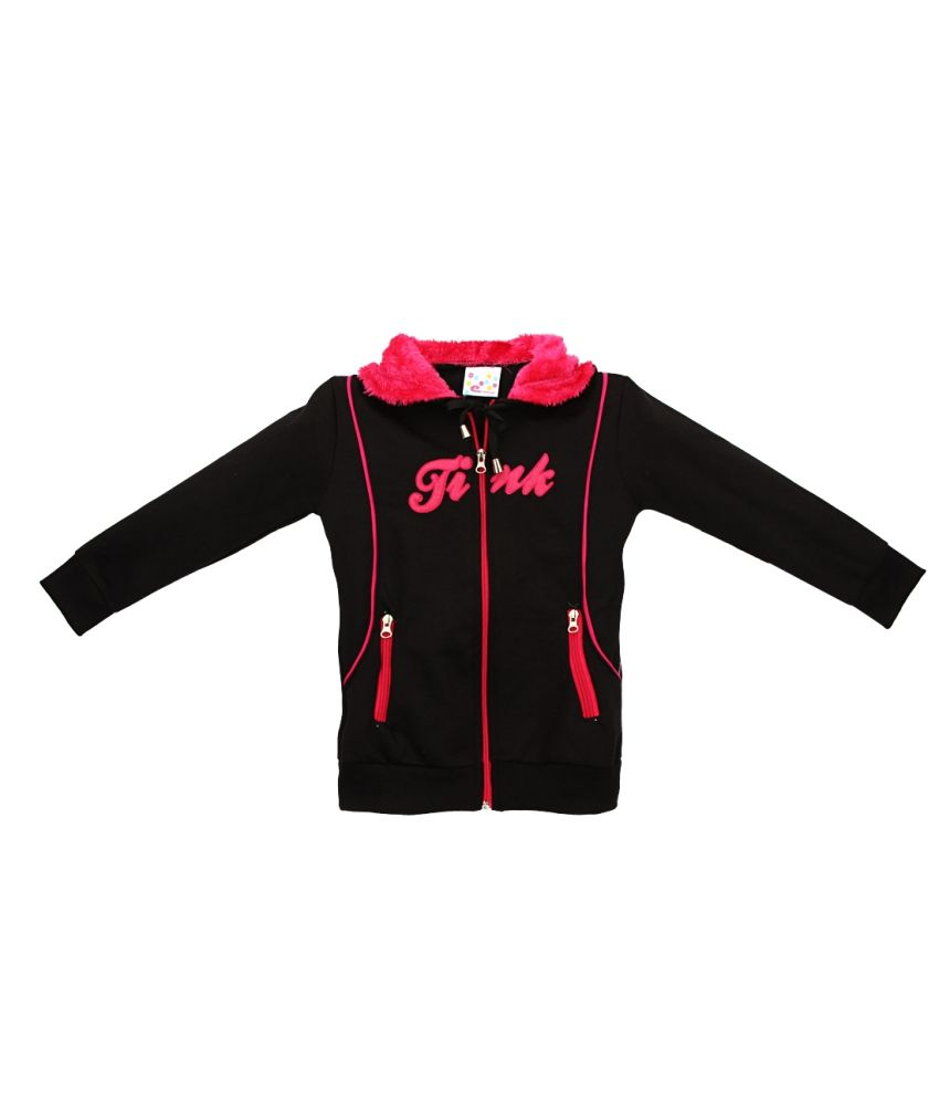 Eimoie Black Full Sleeves Fleece Jacket
