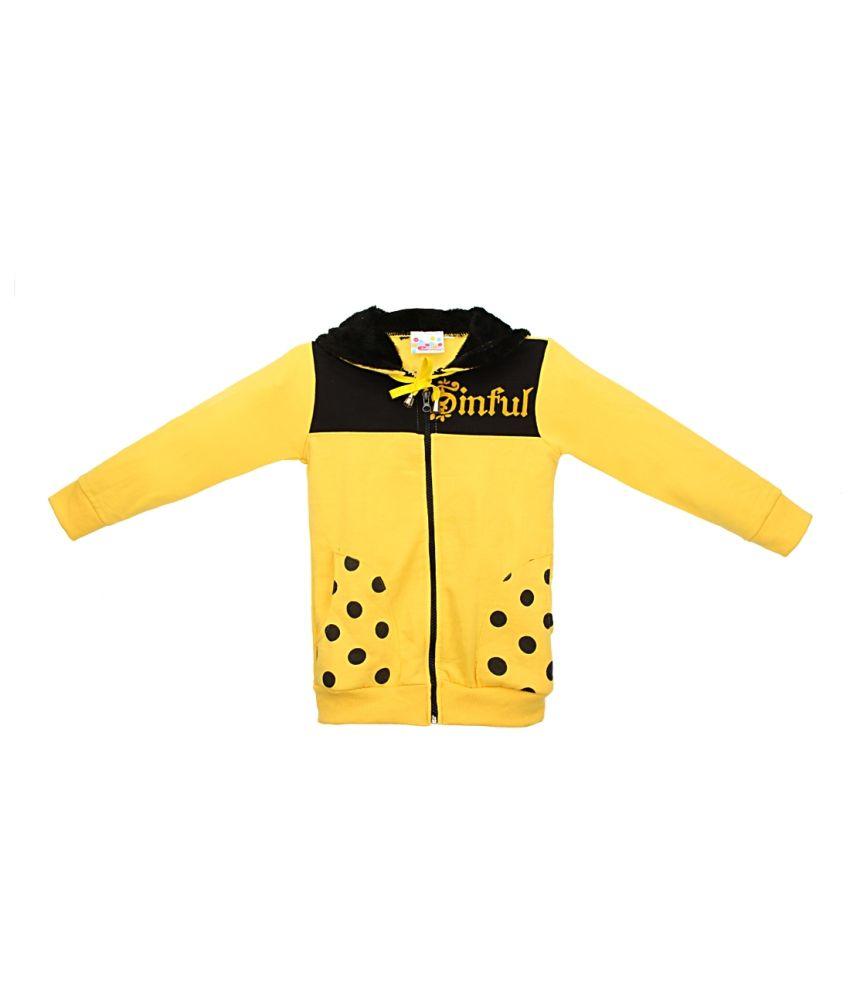 Eimoie Yellow Full Sleeves Fleece Jacket With Hood