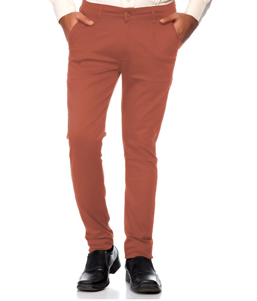 Sam & Jazz Brown Slim Fit Casual Chinos