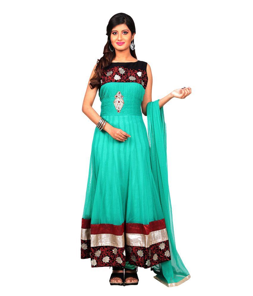 Sharmili Green Net Stitched Suit