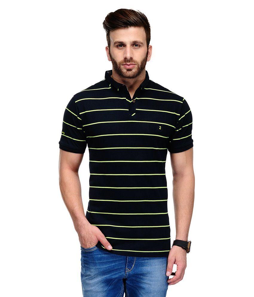 Ausy Black Cotton Blend T Shirt