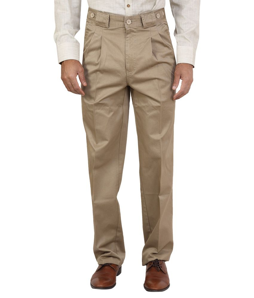 Bottoms Beige Slim Fit Casual Chinos