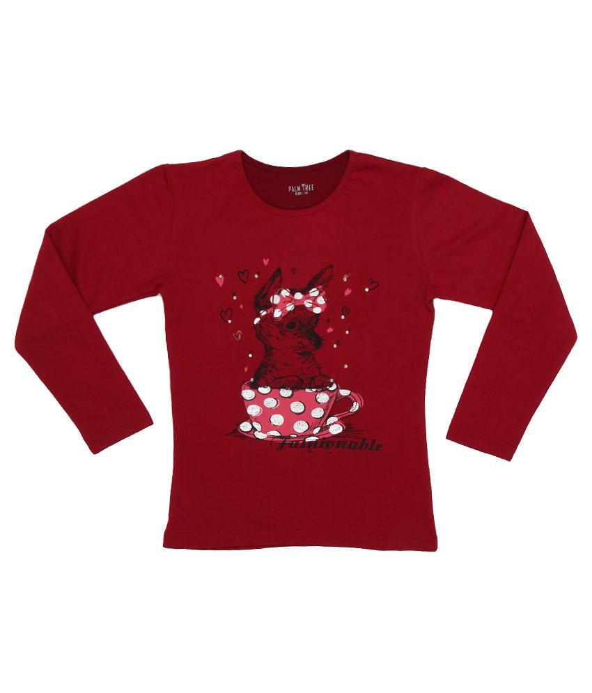 Gini & Jony Maroon Printed Sweatshirt