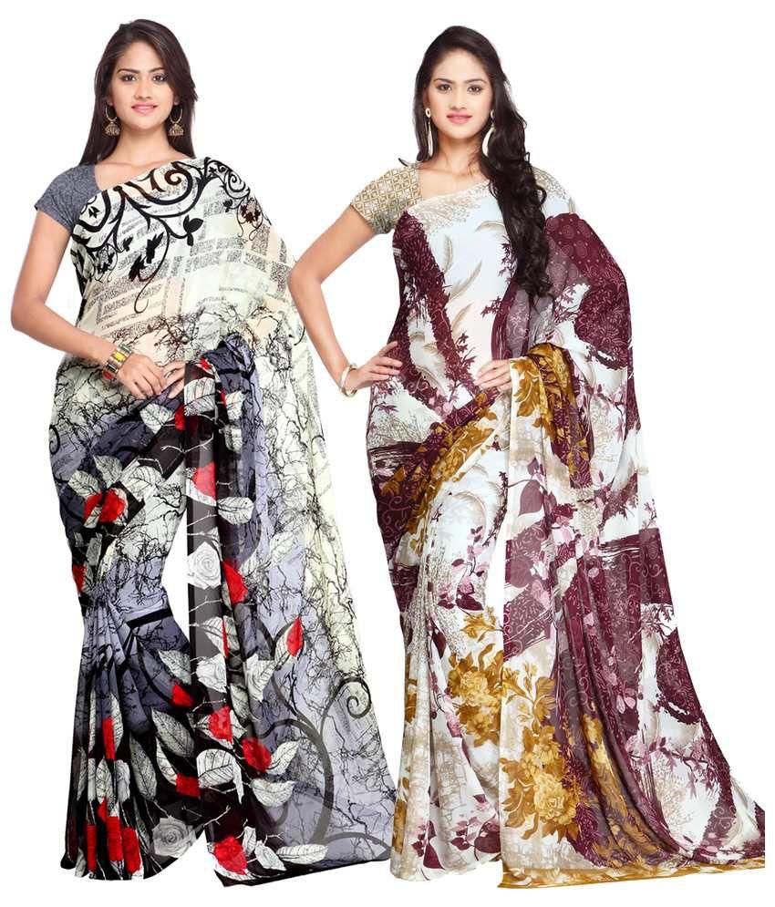 Ligalz Black and Multicolor Semi Chiffon Saree - Pack of 2