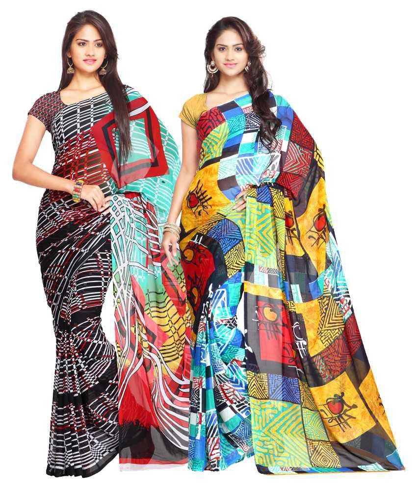Ligalz Multicolor and Multicolor Semi Chiffon Saree - Pack of 2