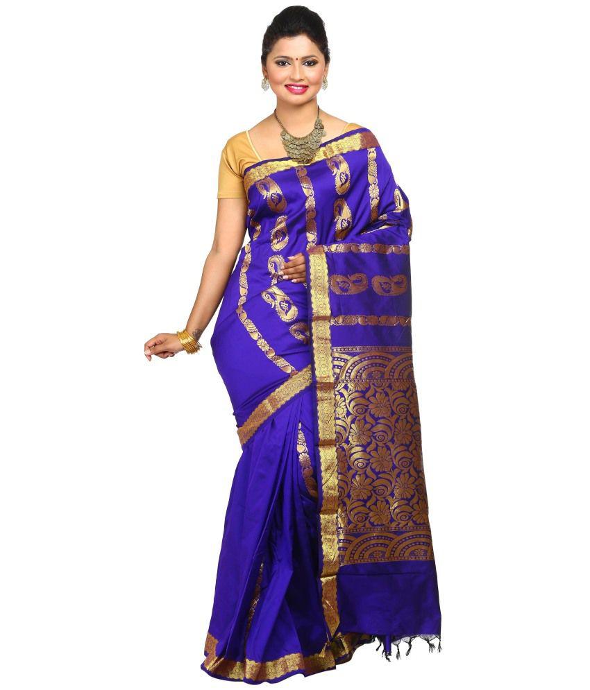 Tusk Blue Silk Saree