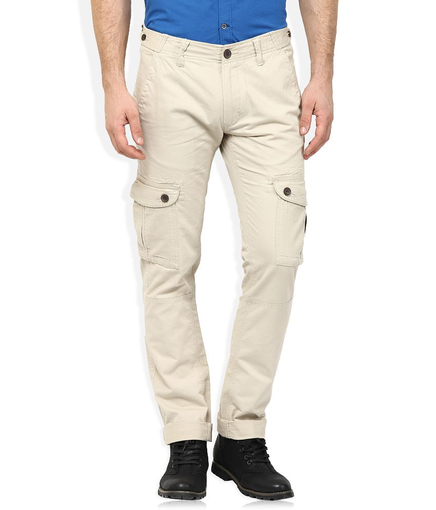 Woodland Beige Regular Fit Flat Trousers