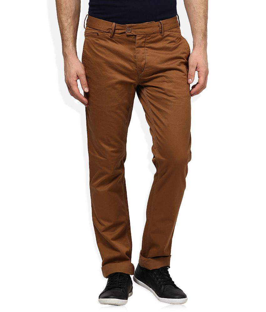 Woodland Brown Regular Fit Flat Trousers