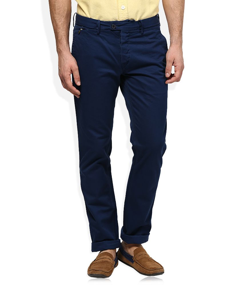 Woodland Navy Regular Fit Flat Trousers