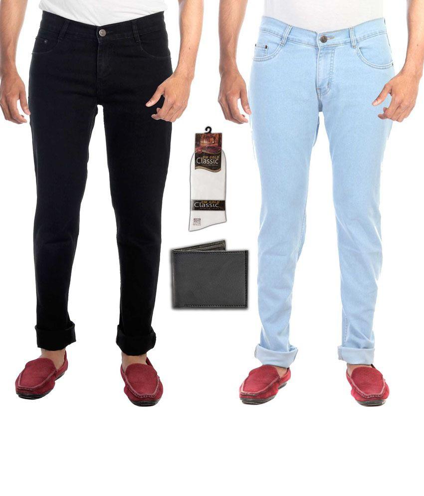 Faithful Combo Of 2 Multicolor Regular Fit Jeans