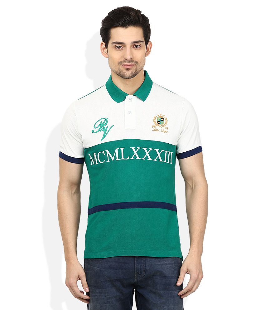 Proline Green Printed Polo T Shirt