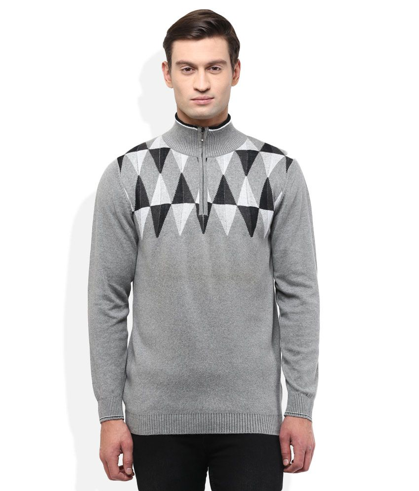 Wills Lifestyle Grey High Neck T Shirt