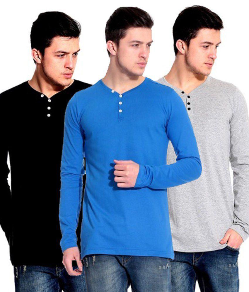 Ansh Fashion Wear Multicolour Cotton T Shirt Combo Of 3