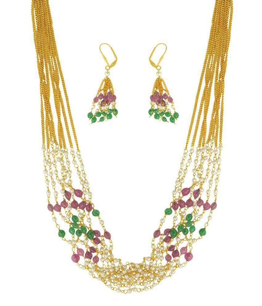 Adiva Multicolour Alloy Cz Studded Necklace Set