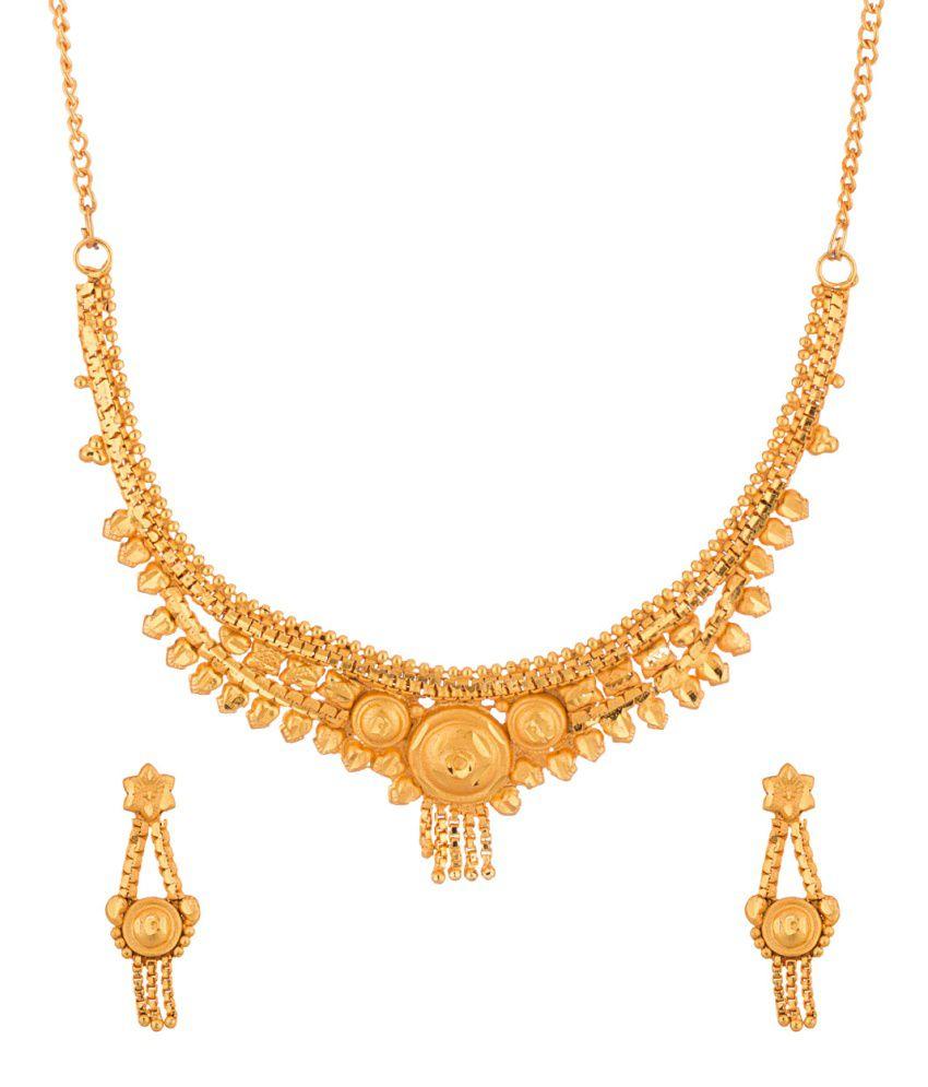 Voylla Golden Alloy Crystal Necklace Set