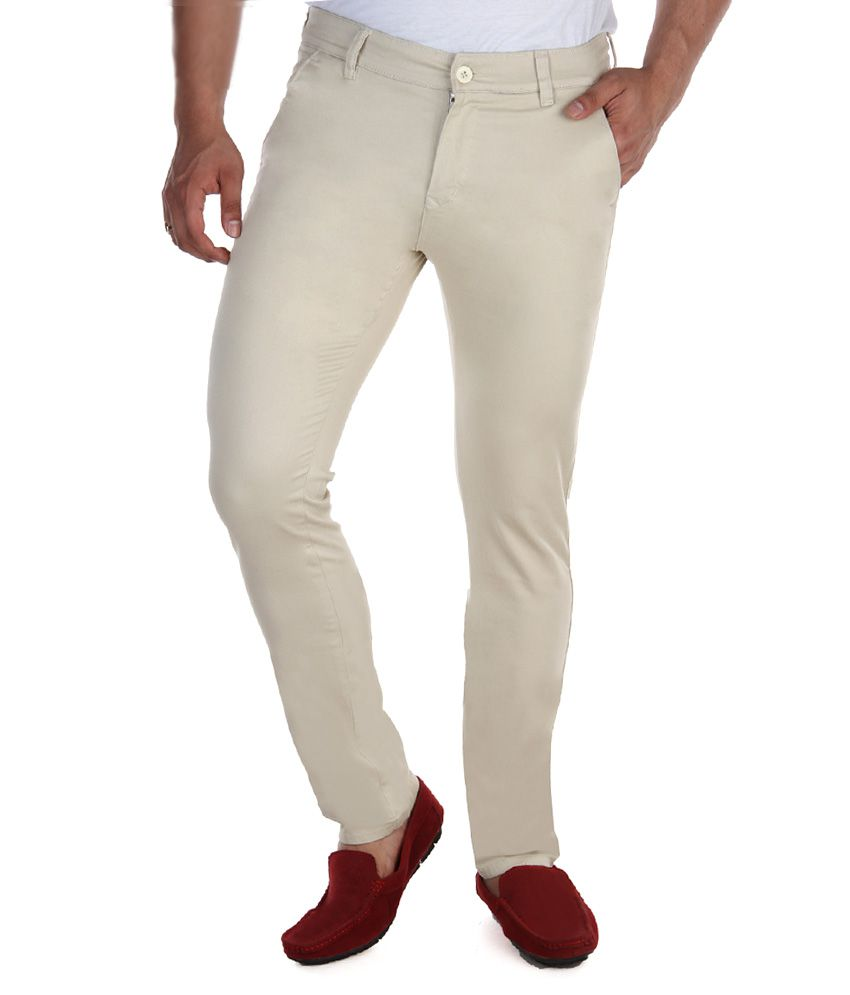 Fever White Slim Fit Casual Chinos