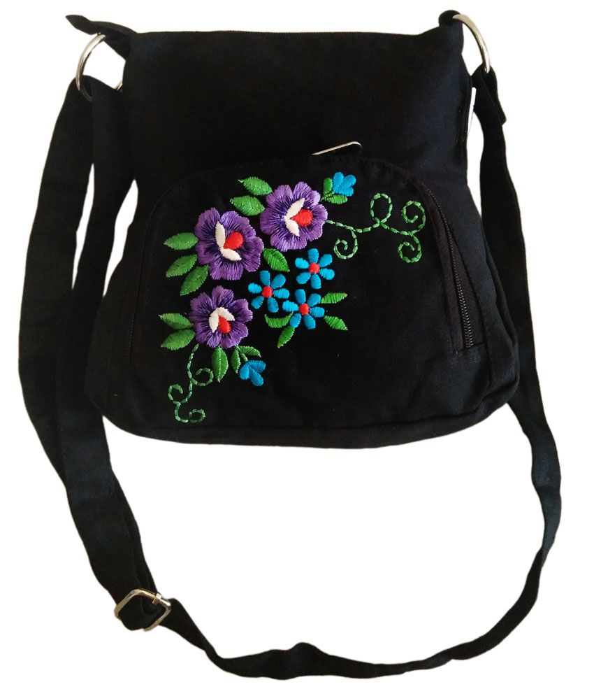 Fly Angels Black Canvas Sling Bag