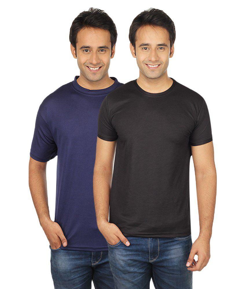 Quetzal.Com Black & Blue Polyester T-Shirt Pack Of 2