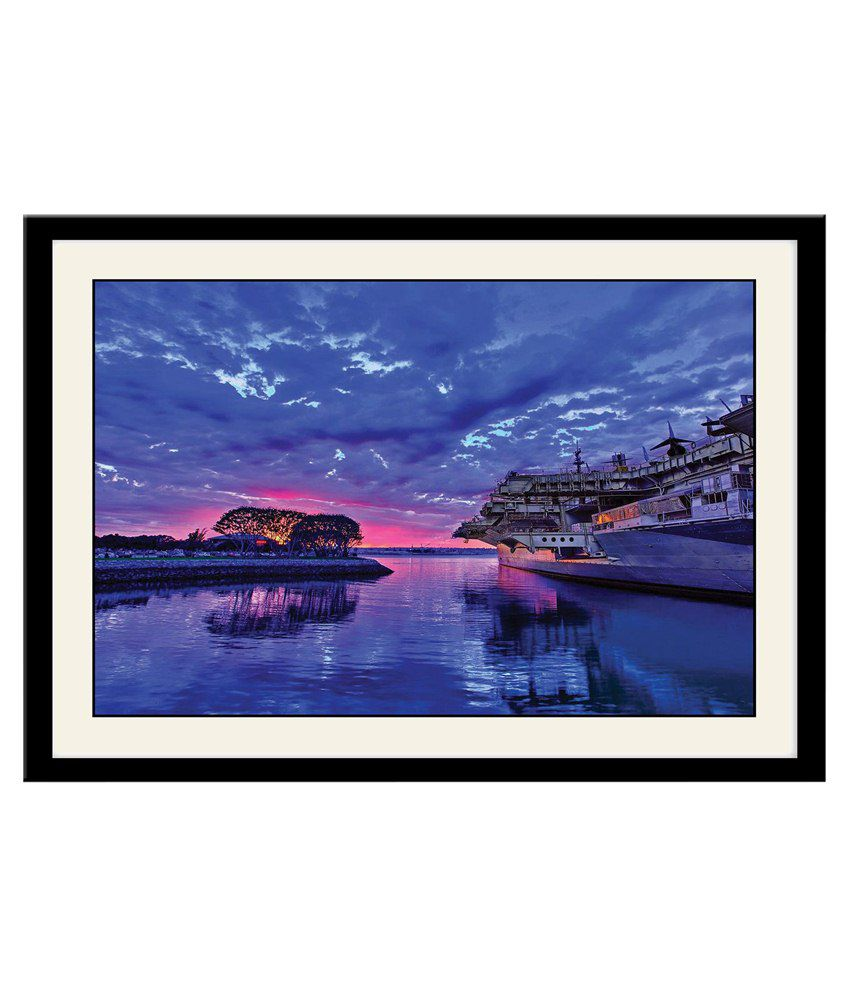 Artifa Multicolour Wooden Blue Water And Sky Poster With Frame