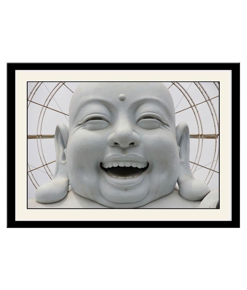Artifa Multicolour Wooden White Laughing Buddha Poster With Frame ...
