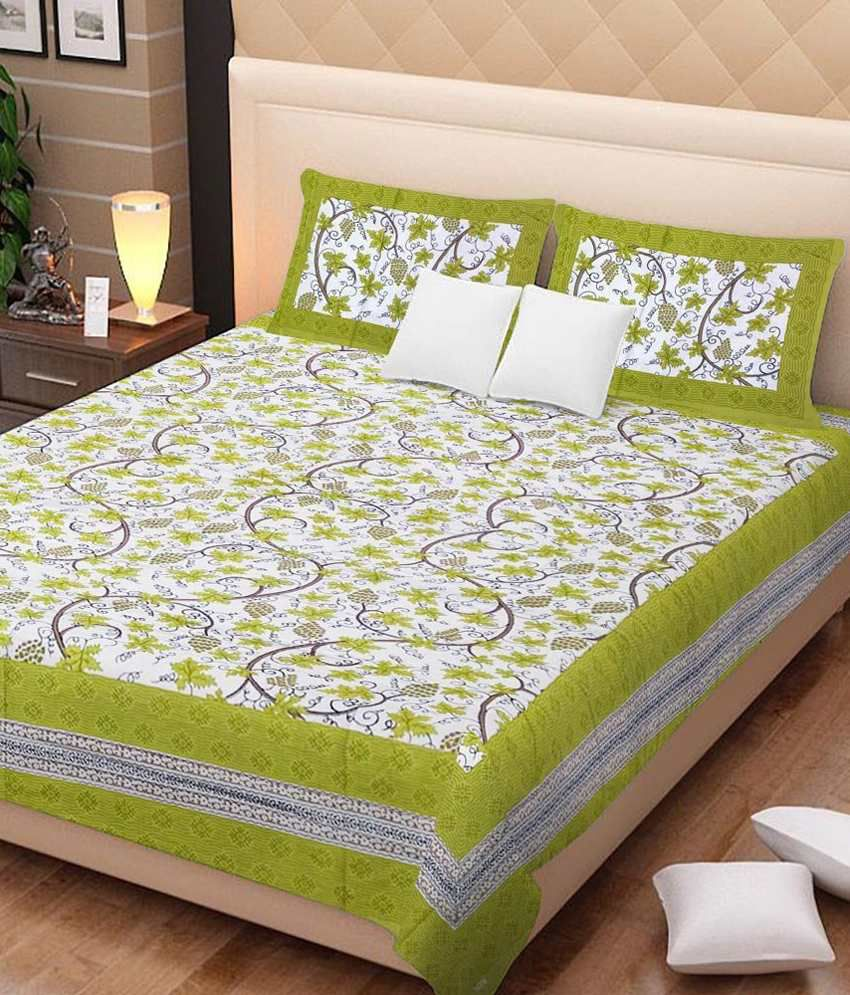 Kismat Collection 100% Rajasthnai Jaipur & Sanagneri 1 Double Bedsheet With 2 Pillow Cover