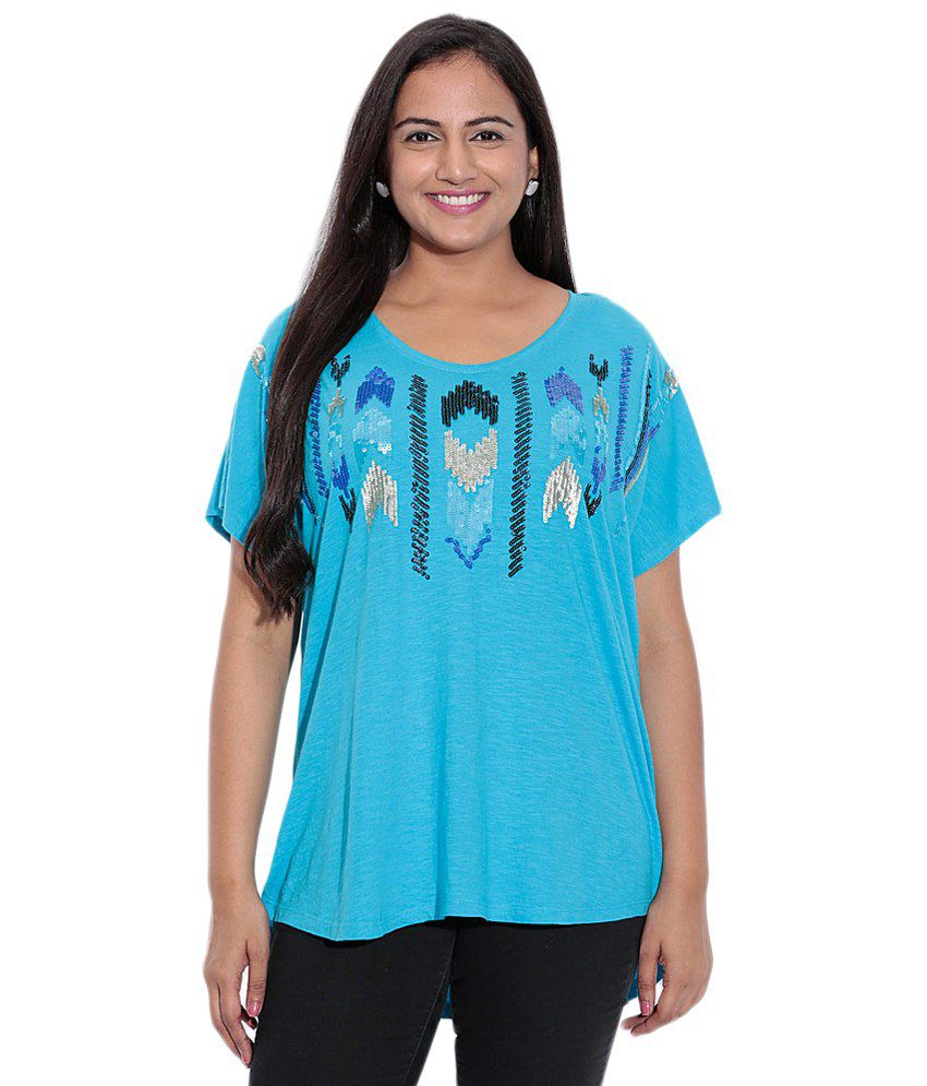 Entease Blue Sequined Cotton Top