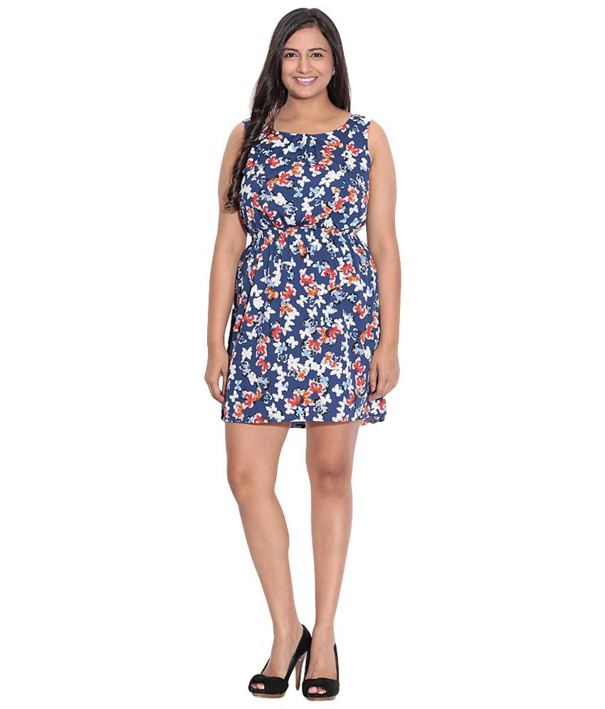 Entease Blue & White Party Wear Polyester Dress