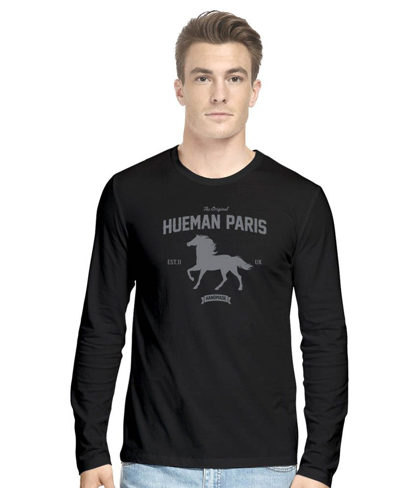 Hueman Black Cotton Blend T-Shirt
