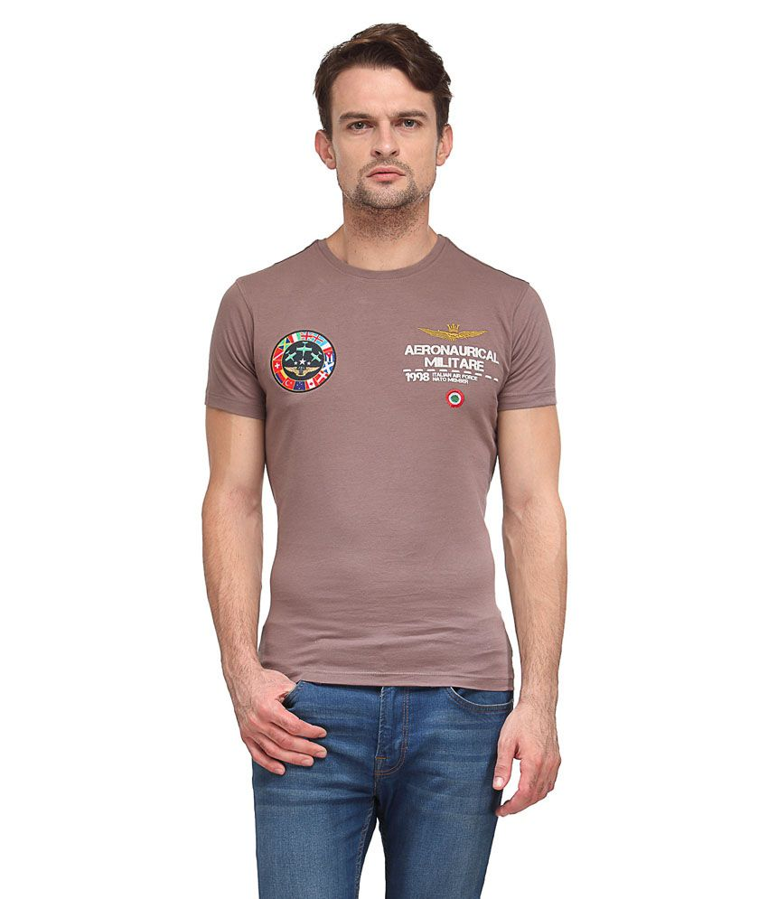Wear Your Mind Beige Cotton Blended T-shirt