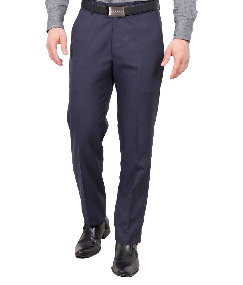 Rich Perk Navy Blue Regular Fit Formal Flat Trouser