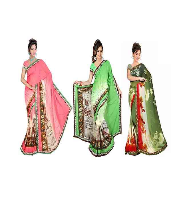 Sunrise Fashions Multi Faux Georgette Pack of 3