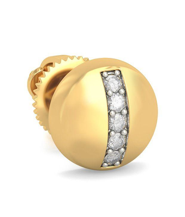 Bluestone 14 Kt Yellow Gold & Diamond Cadeau Mens Stud Earrings