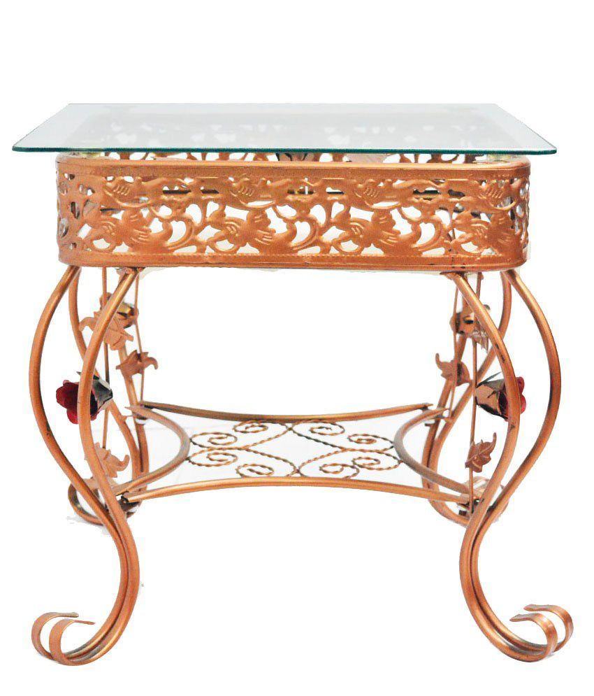 Eros Stainless Steel Service Table in Rose Gold