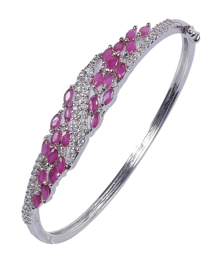 Much More Traditional Party Wear Ruby-CZ Stone Silver Plated Fashion Braclet For Women Jewelry
